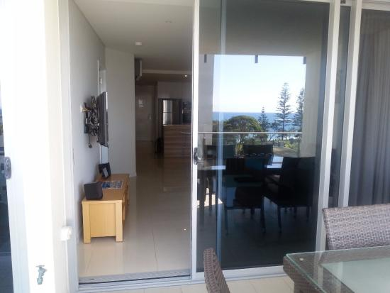 Coco Mooloolaba Apartments: Looking back from balcony back to living area