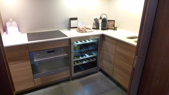 Nice kitchen setup with a fridge and freezer picture of for Kitchen setup