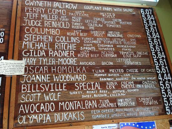 Williamstown, MA: Menu Board - sandwiches named after celebrities