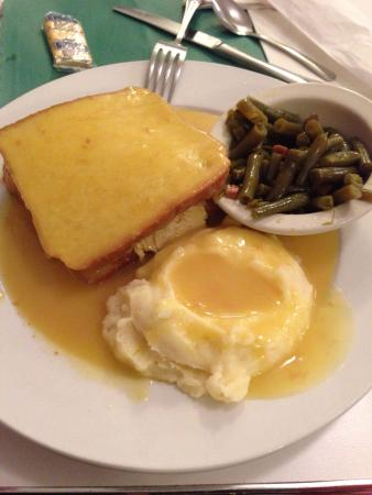 Potomac River Grill: Homemade bean soup Hot turkey and gravy sandwich Diner interior