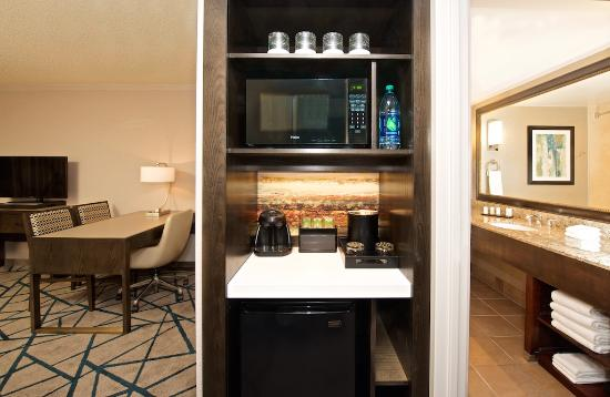 Embassy Suites by Hilton Portland Washington Square: Your suite convenience center includes a refrigerator, microwave and coffee service