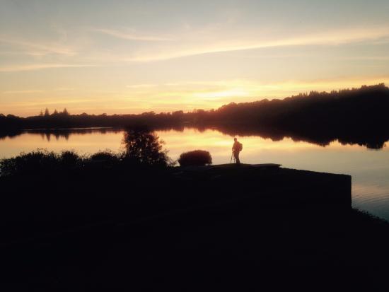 Crocketford, UK: Sunset over the loch