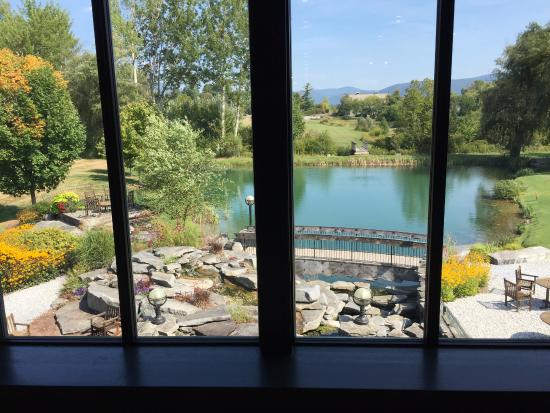View of the casting pond from inside the Orvis Store.