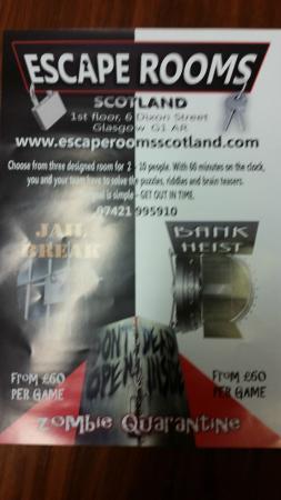Leaflet Picture Of Escape Rooms Scotland Glasgow