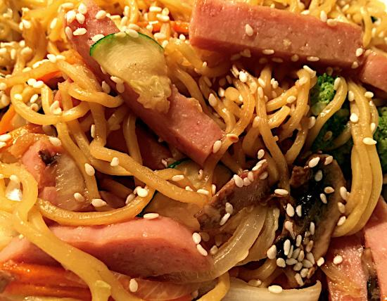 Aloha BBQ Grill: SPAM & Hawaii go together! THIS is YUMMY Spam Fried Noodles. Also try Spam Fried Rice & SPAM Sai