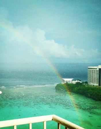 The Westin Resort Guam: Rainbow over the beach.