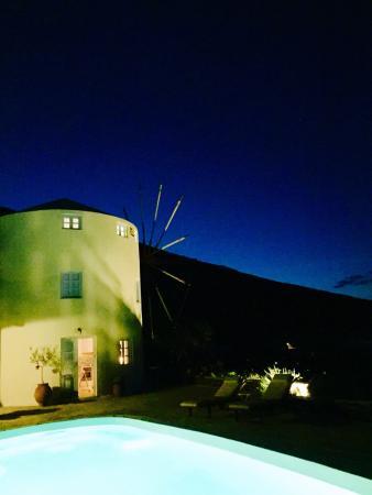 Blue villa at night