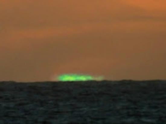 The Green Flash Seen At Sunset In The Gulf Of Mexico Off