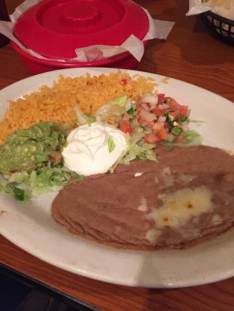 Patron Mexican Grill: Sides for fajitas, fresh tortillas, chicken fajitas