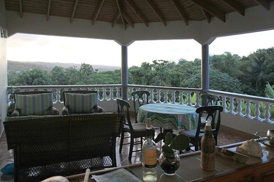 Marigot, Dominica: Evening view from terrace