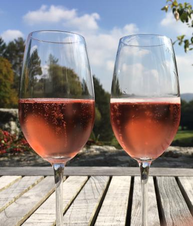Gidleigh Park: Champagne on the terrace in the warm October sun