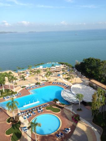 Royal Cliff Beach Hotel: 從飯店的陽台往下看,就是無邊際游泳池,光是下面看見的就有三個泳池了!