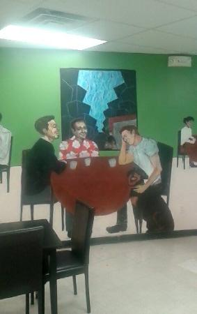Stratham, NH: A snap of the Mural. Robert Downey jr. Robin Williams, and Marlon Brando petting the Owner's Rot