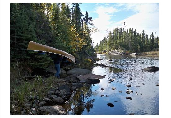 Rockwood Lodge and Outfitters: Portaging into Rib Lake