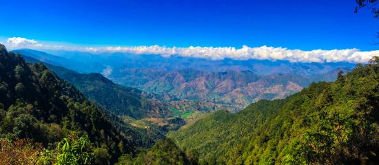 Kathmandu Valley, Nepal: The Panoramic View of Himalaya and front Valley from Shivapuri Peak at 2720 m.
