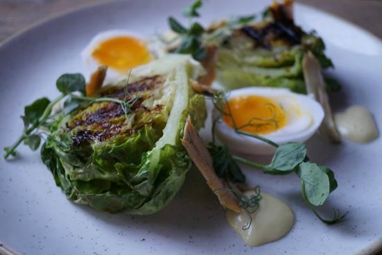 Sidlesham, UK: Soft boiled Halgate duck egg, chargrilled baby gem,  anchovies