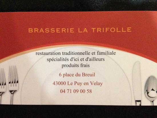 Brasserie La Trifolle Le Puy En Velay