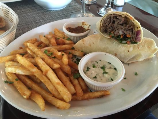 Agora Mediterranean Kitchen: Doner Wrap Platter With Either Fries Or Salad