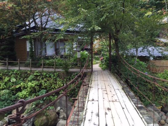 Aoni Onsen: 宿の中を流れる渓流にかかる橋