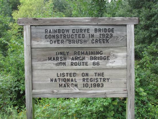 Baxter Springs, KS: Sign at Rainbow Curve Bridge