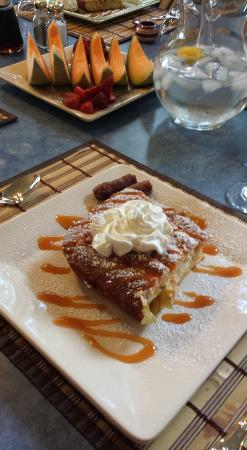 at the Waters Edge: Stuffed caramel apple pancakes.