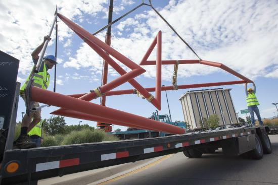 Englewood, CO: Mangold Sculpture being moved