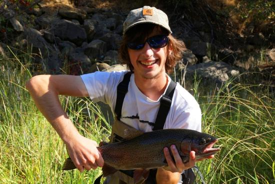 Off the Hook Fly Fishing: Another happy client with a Putah Creek rainbow.