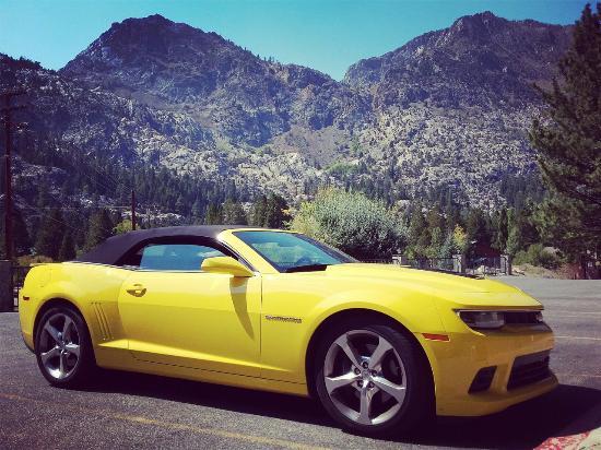 Whispering Pines Motel: Вот такой вид с порога моего номера был..и на машину (мою), и на горы ))