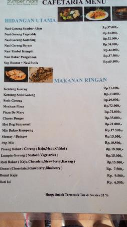Menu Hotel Picture Of Kampung Sumber Alam Garut Tripadvisor