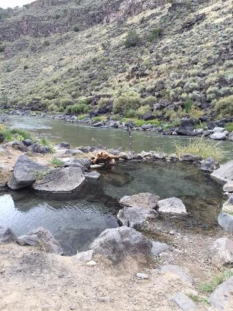 Two of the four pools at river's edge, Manby hot springs.