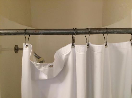 Hard plastic shower curtain on rusty hooks (if at all) in our \