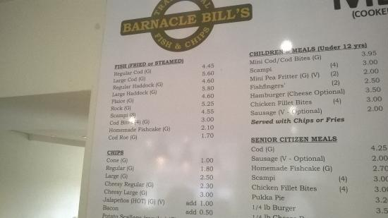 Barnacle Bill's Traditional Fish & Chips: even more menu