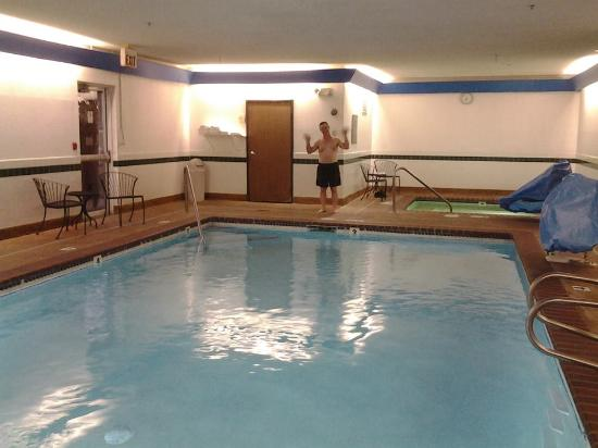 Hubby about to jump in. Nice and clean pool and hot tub! - Picture ...