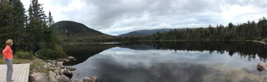 view from dock at Lonesome Lake Hut