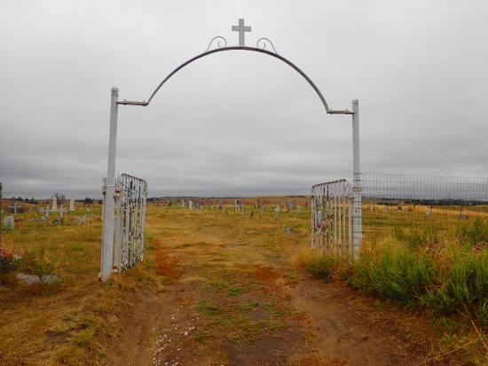 Pine Ridge, SD: The cemetery gate