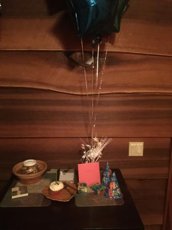 Lanzarotta Bed and Breakfast: Balloons, cupcake and party hats!