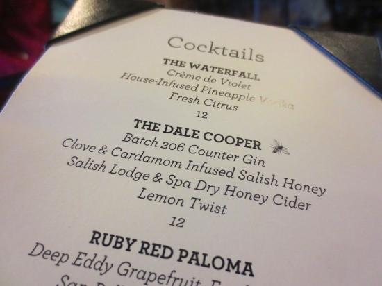 The Attic at Salish Lodge & Spa: Cocktails inspired by 'Twin Peaks'