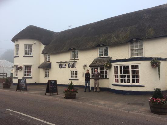 Blue ball Inn in the mist