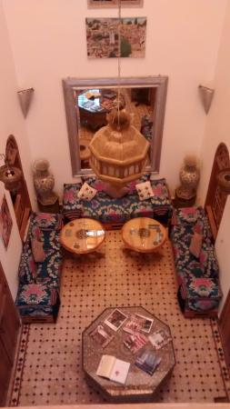 Riad Idrissides: Hall seen from an internal balcony
