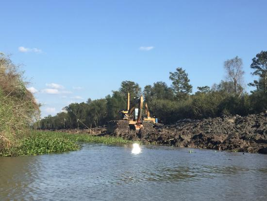 Plaquemine, LA: An oil or gas construction site, Atchafalaya Basin