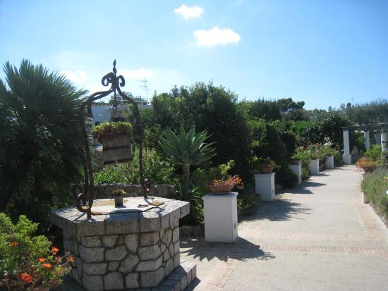 Al Mulino: Walkway through gardens to Al Mulino hotel