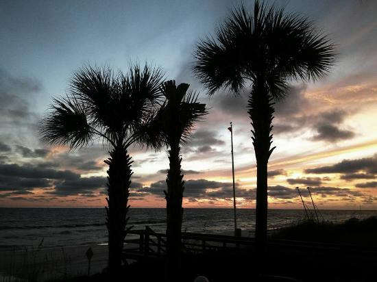 Holiday Inn Club Vacations Panama City Beach Resort: A view sunset from the beach deck.