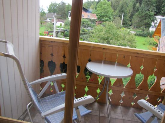 """Garni Hotel """"Berc"""": Small outdoor patio - ours overlooked a miniature horse and goat of the neighbor's"""