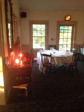 West Chesterfield, NH: Elegant and appealing restaurant includes indoor and outdoor tables, nicely laid tablecloth and