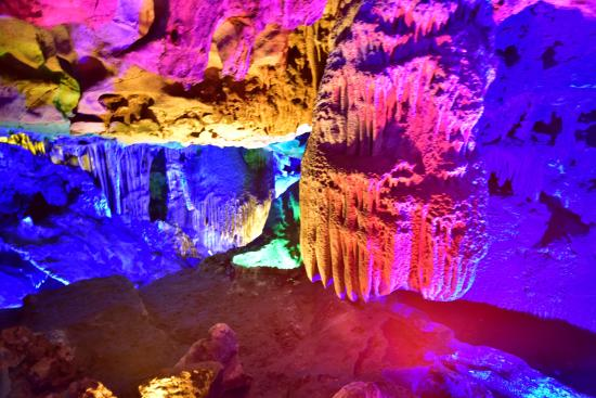 Hezhou, Kina: 五光十色的鐘乳石6