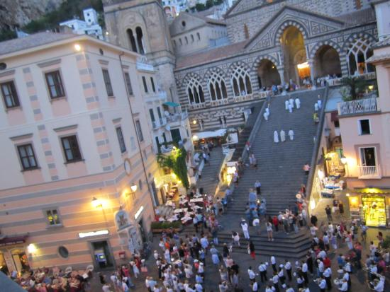 Hotel Centrale: The main piazza in Amalfi with the Cathedral (view from our Hotel)