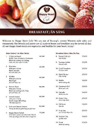Happy Heart Cafe Danang Menu