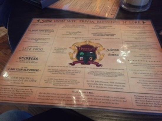 Rooney's Irish Pub: Irish trivia placemat