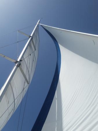 Simpson Bay, St-Martin/St Maarten: Sails up on Spellbound