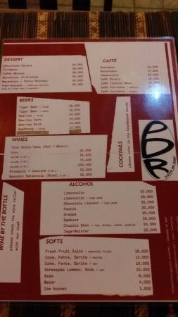 PDR - Pizza da Roby: Menu, but they have separate menus for drinks and pizzas of the day. They also have a separate l